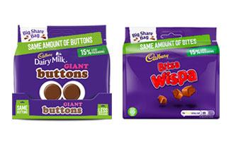 Mondelez Buttons and Wispa new bags