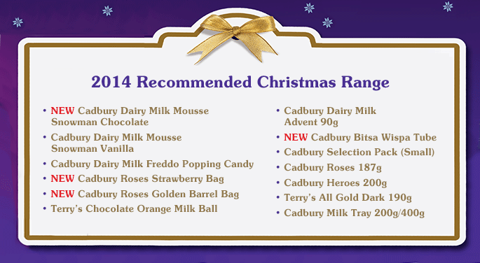 2014 Recommended Christmas Range