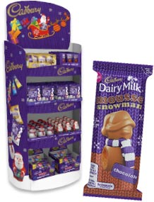 Christmas POS and Cadbury Dairy Milk Mousse Snowman Chocolate